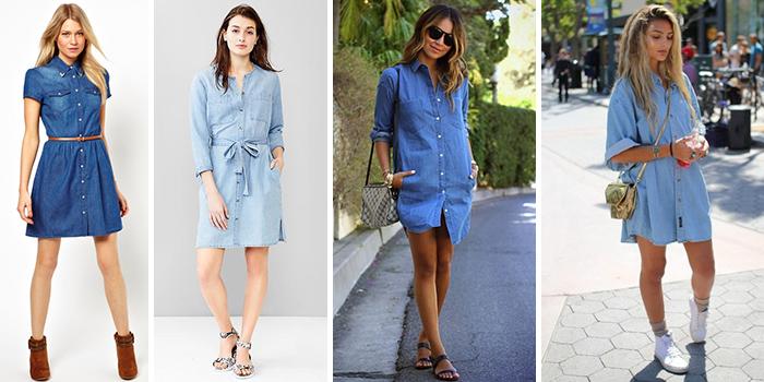 С чем носить джинсовое платье с какой обувью